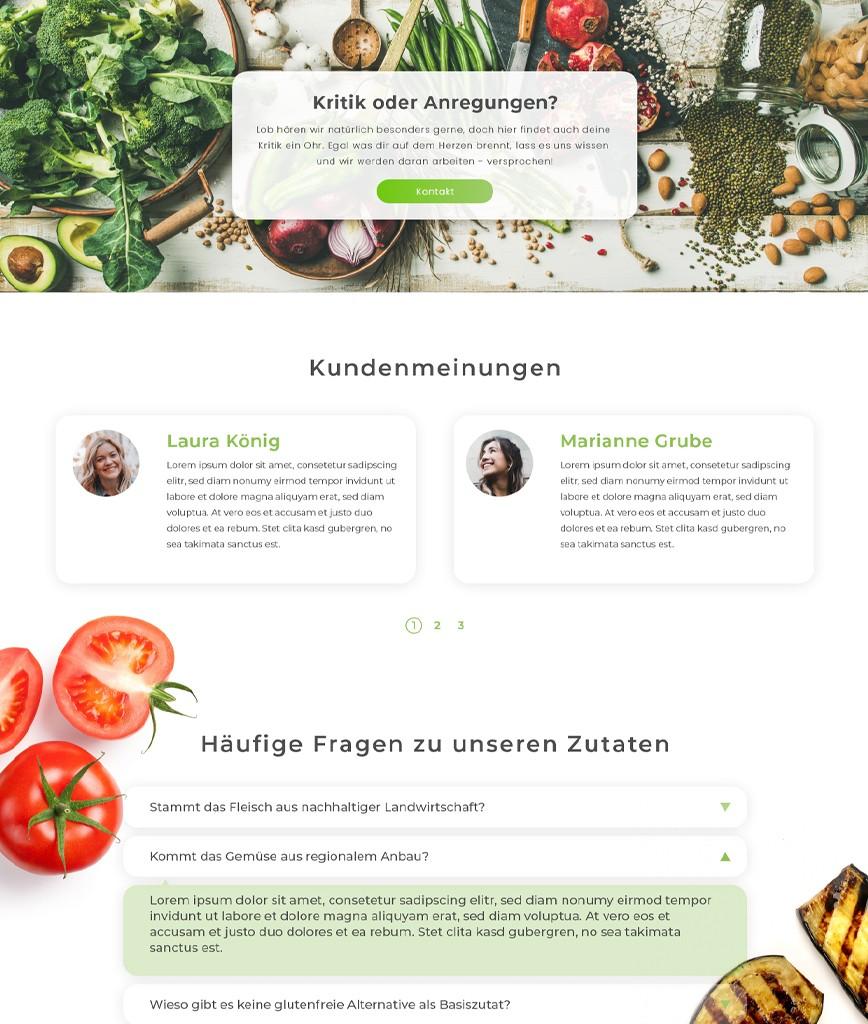 Bewertungs Sektion Lieferdienst website