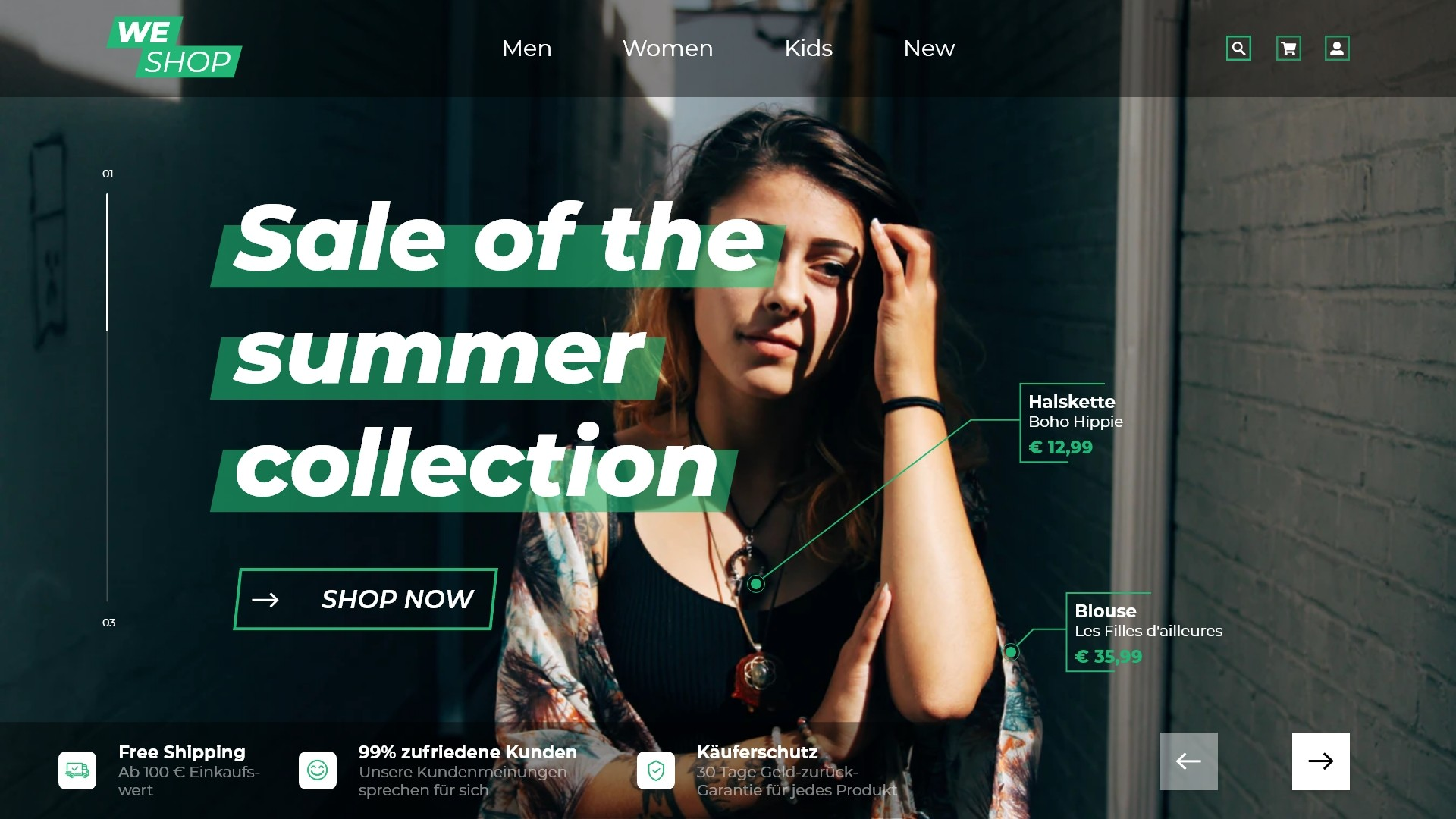 Landingpage Online WEshop