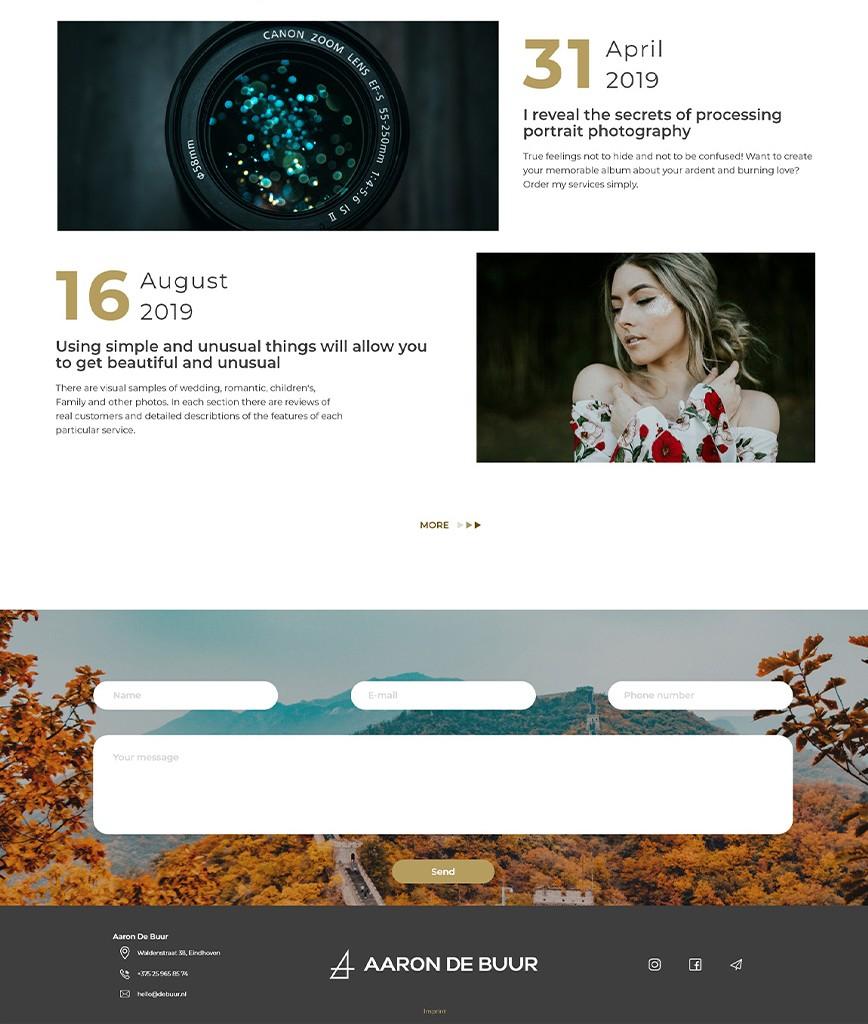 Fotografie Website Blog Abschnitt